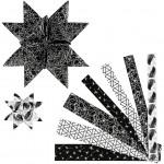 Stjernestrimler, B: 15+25 mm, diam. 6,5+11,5 cm, Sort kollektion, metalfolie, 48stk.
