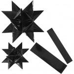 Stjernestrimler, B: 25+40 mm, diam. 11,5+18,5 cm, sort, outdoor, 16stk.
