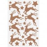 Glitterstickers, ark 12x18,5 cm, kobber, rådyr, 1ark