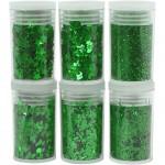 Glitter og pailletter, grøn, 6x5g