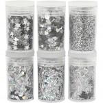 Glitter og pailletter, sølv, 6x5g