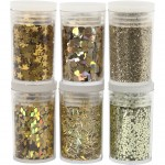 Glitter og pailletter, guld, 6x5g