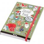 Bog med stickers, str. 11,5x17 cm, tykkelse 1,5 cm, julemotiver - 76 ark, 1stk., ca. 1700 stk.