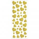 Glitterstickers, ark 10x24 cm, ca. 84 stk., guld, hjerter, 2ark