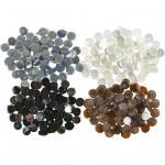 Mosaik , diam. 10 mm, tykkelse 2 mm, brun, grå, hvid, sort, 2. sortering, 1000g