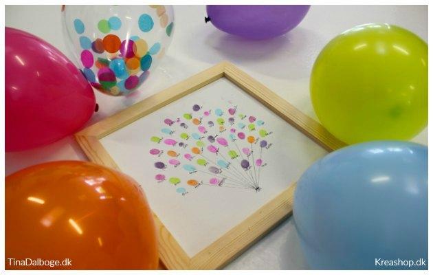 indslag til fest gæstetræ med fingeraftryk og stempelpuder balloner kreashop