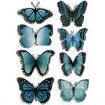 3D Stickers, str. 20-35 mm, blå, sommerfugl, 8stk.