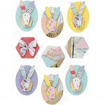 3D Stickers, H: 30-45 mm, B: 32-35 mm, kaniner, 9stk., tykkelse 7 mm