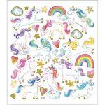 Stickers, ark 15x16,5 cm, ca. 31 stk., enhjørninge, 1ark