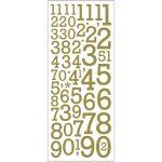 Glitterstickers, ark 10x24 cm, guld, tal, 1ark