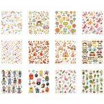 Stickershæfte, ark 15x16,5 cm, helårs, 12ark
