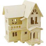 3D Puslespil, Hus med altan, str. 15,8x17,5x19,5 , krydsfiner, 1stk.