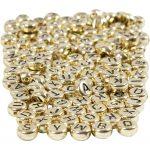Bogstavperler, diam. 7 mm, hulstr. 1,2 mm, guld, 21g, ca. 200 stk.