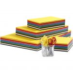 Creativ karton og børnesakse, A3+A4+A5+A6 , 180 g, 1sæt