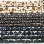 Pottery Beads, hulstr. 2+3 mm, ass. farver, 164stk.