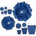 Papirblomster, diam. 15+25 cm, 230 g, blå, 2stk.