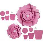 Papirblomster, diam. 15+25 cm, 230 g, rosa, 2stk.