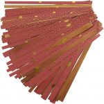 Stjernestrimler, B: 15+25 mm, diam. 6,5+11,5 cm, guld, rød, 48strimler, L: 44+86 cm