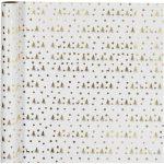 Gavepapir, B: 57 cm, 80 g, hvid, guld, juletræ med hjort, 75m