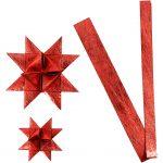 Stjernestrimler, B: 15+25 cm, diam. 6,5+11,5 cm, rød, silke, 32strimler, L: 44+78 cm