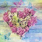 Servietter, str. 33x33 cm, Hjerte af roser, 20stk.