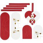 Flettede julehjerter, str. 12,5x11,5 cm, 120 , hvid, guld, rød, nøddeknækker, 8sæt