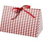 Æske, harlekin mønster, str. 15x7x8 cm, 250 g, hvid, rød, 3stk.
