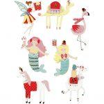 3D stickers, H: 50-60 mm, B: 30-45 mm, flamingo, lama, havfrue, 7stk., tykkelse 7 mm
