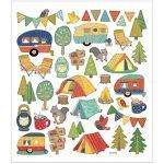Stickers, ark 15x16,5 cm, ca. 40 stk., campingtur, 1ark