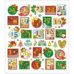 Stickers, ark 15x16,5 cm, ca. 43 stk., adventstal, 1ark