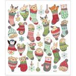 Stickers, ark 15x16,5 cm, ca. 33 stk., dyr i julesok, 1ark