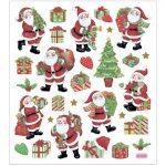 Stickers, ark 15x16,5 cm, ca. 29 stk., klassiske julefigurer, 1ark