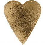 Hjerte, H: 12 cm, B: 10 cm, guld, 4stk.