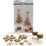 Juletræer af læderpapir, tykkelse 0,55 mm, natur, 1sæt