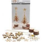 Juletræer af læderpapir, tykkelse 0,55 mm, guld, 1sæt