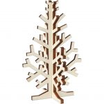 3D Juletræ, H: 12 cm, B: 7,5 cm, krydsfiner, 1stk.