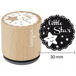 Træstempel, diam. 30 mm, H: 35 mm, little star, 1stk.