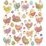 Stickers, ark 15x16,5 cm, ca. 31 stk., påskehøns, 1ark