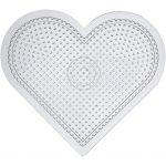 Perleplade , H: 15 cm, transparent, stort hjerte, 1stk.
