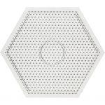 Perleplade, str. 15x15 cm, transparent, stor sekskant, 1stk.